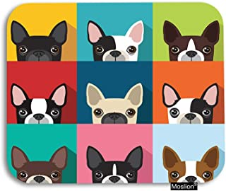 Moslion Dog Mouse Pad Boston Terrier Cute Fun Cartoon Pets Dogs Head Face Gaming Mouse Pad Rubber Large Mousepad for Computer Desk Laptop Office Work 7.9x9.5 Inch