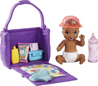 Barbie Skipper Babysitters Inc. Feeding and Changing Playset with Color-Change Baby Doll, Open-and-Close Diaper Bag and 7 ...