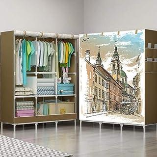 TLMYDD Grande Armoire Portable en Toile Armoire Simple Armoire en Tissu Pliant Non tissé Combinaison de Renfort pour la Ma...