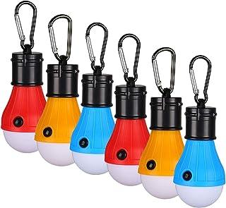 XGzhsa Bombilla de emergencia para camping, luz de camping, 6Pcs Bombillas LED para acampar Impermeables con mosquetón, Bombilla portátil con batería para exteriores (rojo, amarillo, azul)