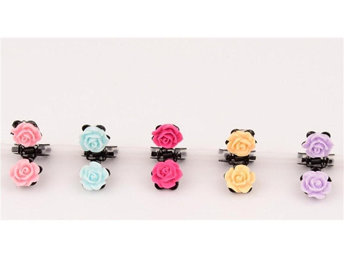 死の顎繕うエンターテインメントOsize 美しいスタイル 子供の小さな花の漫画小さなクリップミニヘアクリップヘアアクセサリー(ローズ)