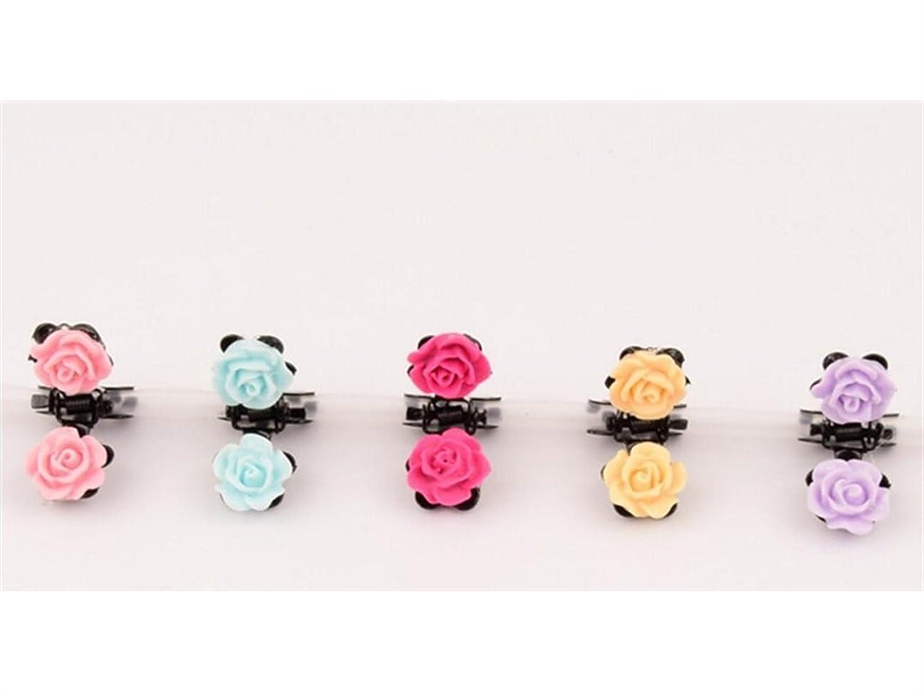サークル突撃見物人Osize 美しいスタイル 子供の小さな花の漫画小さなクリップミニヘアクリップヘアアクセサリー(ローズ)