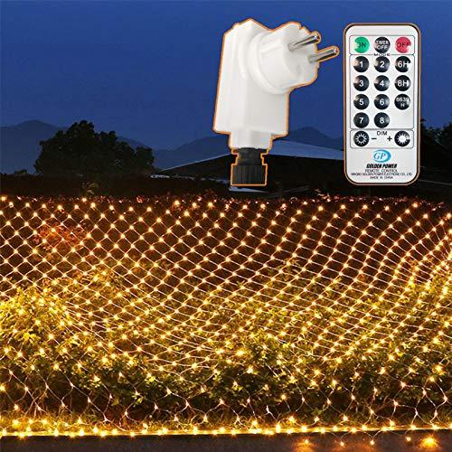 204 LEDs Lichternetz Außen, 3M x 2M Netz Lichterkette Stecker mit Fernbedienung 8 Modi Timer, Wasserdichte Mesh Lichtervorhang, für Christbaum Weihnachten Party Garten Innen Dekorationen, Warmweiß