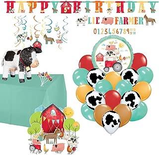 Barnyard Birthday Kit: Cow Pinata, Candles, Decorations, Balloons, Games, Printables