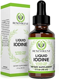 Liquid Iodine Potassium Drops - 1300 Servings | Large 2oz Bottle | Great Taste | 2X Absorption | Just One (1) Drop a Day for Fast, Potent Thyroid Support - Potassium Iodide. Alcohol and Gluten Free