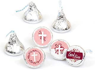 Pink Elegant Cross - Girl Religious Party Round Candy Sticker Favors - Labels Fit Hershey's Kisses (1 Sheet of 108)