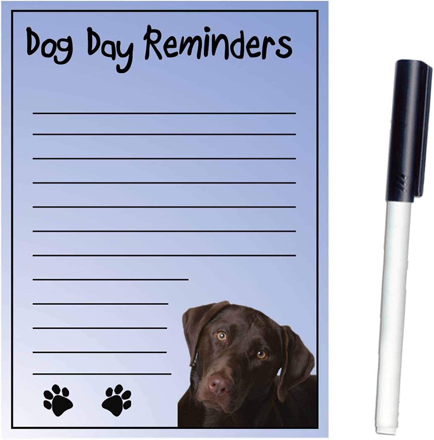 Imagine This Magnetic Dry Erase Board with Dog Day Reminders, Labrador, Chocolate