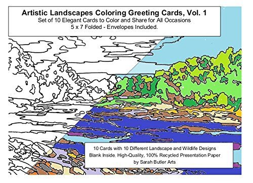 Artistic Landscapes Coloring Greeting Cards, Vol. 1, Set of 10 Elegant Cards to Color and Share for All Occasions,