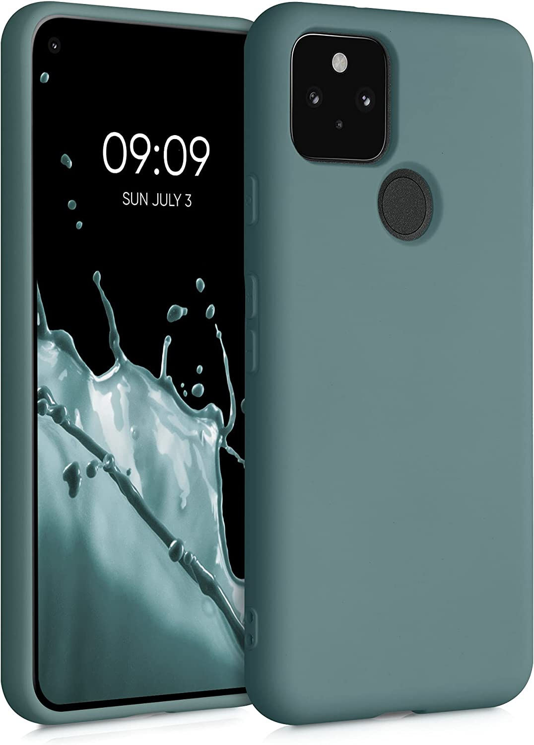 kwmobile Case Compatible with Google Pixel 5 - Case Soft TPU Slim Protective Cover for Phone - Arctic Blue