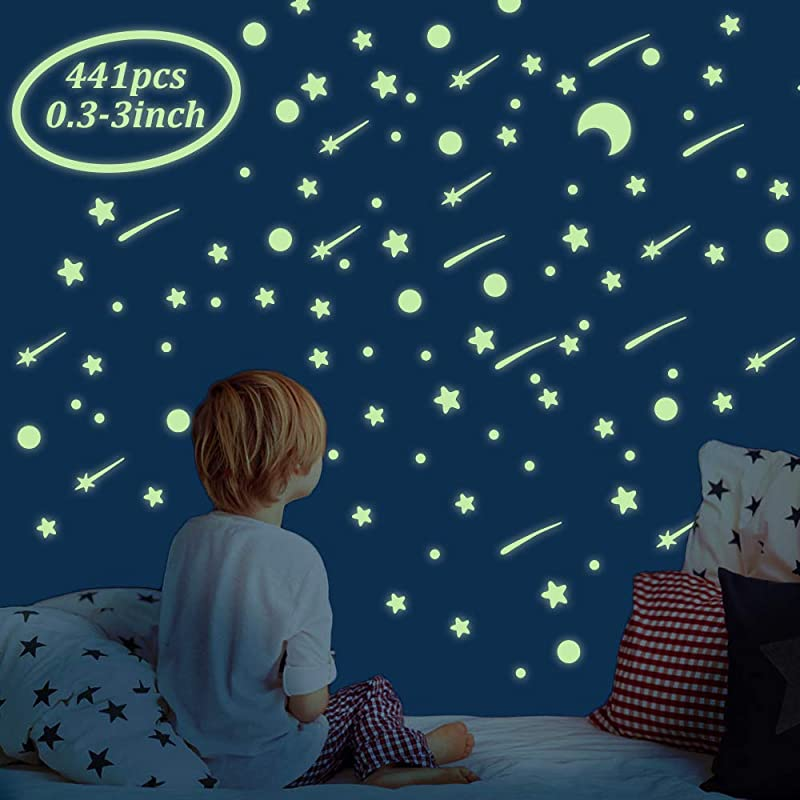 Tailiand 441 Pcs Glow In The Dark Stars And Moon Adhesive Glowing Stars Dots Stickers For Ceiling Or Wall Decals Perfect Glow Moon And Stars Set For Kids Bedding Room Gift