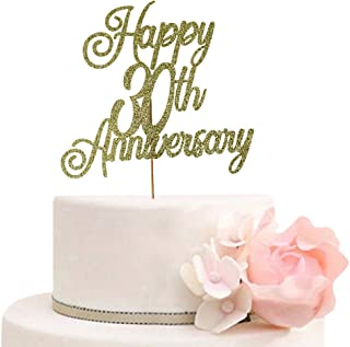Happy 30th Anniversary Cake Topper 30th Wedding Anniversary Decor Birthday Party Decorations Supplies Gold Glitter