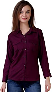 C.Cozami Women's Casual Long Sleeves Double Pocket Rayon Shirts