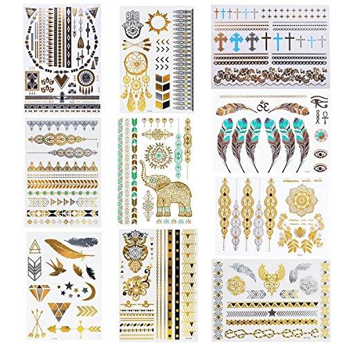 Amaza 10 Hojas de Tatuajes Adhesivos Mujer Flash Tatoos Temporales Metalicos (Multicolor)