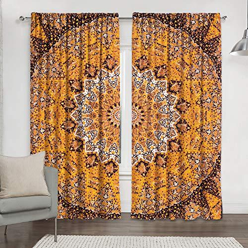Black & Gold Tapisserie Wohnzimmer Vorhänge für Schlafzimmer Zimmer Blackout Vorhänge, Hippie Balkon Sheer Raumteiler Fenster Behandlungen Handgefertigte Vorhang Panel Set Mandala Vorhang Duschvorhang