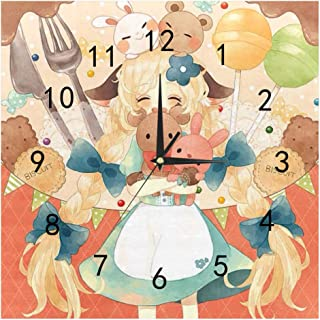 SHOP-DIY Square Wall Clock, Quality Quartz Operated for Home # Lovely Girl