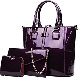 Women's 3pcs Handbags Patent Leather Fashion Shoulder Bag Large Capacity Handbag