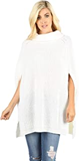 Women's Turtleneck Thick Warm Knitted Winter Shawl Cape Poncho Wrap Sweater
