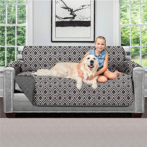 Sofa Shield Original Patent Pending Reversible Small Sofa Protector for Seat Width up to 62 Inch, Furniture Slipcover, 2 Inch Strap, Couch Slip Cover Throw for Pets, Kids, Cats, Sofa, Diamond Charcoal