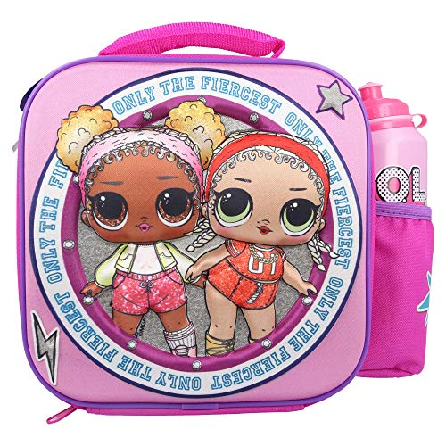 Stor LOL Surprise 3D Thermal Lunch Bag for Kids at School with Sports Bottle - Insulated Snack Bag for Children with Drinks Bottle - Reusable Tote Cooler Lunch Box