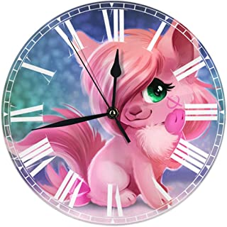 HOHOHAHE My Little Pony Coccobun Wall Clock Round Style,Silent Non-Ticking Wall Clock,Battery Operated Art Decorative for Kitchen,Living Room,Kids Room and Coffee Decor (10 Inch)