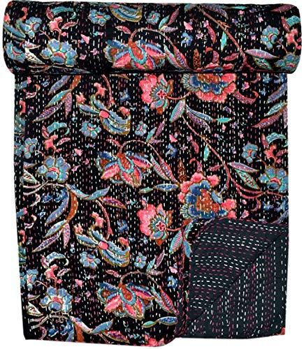 GANESHAM Kantha - Funda de sofá para decoración del hogar, estilo vintage, de lujo, bohemio, bohemio, gudari, hecha a mano, sábana de 228 x 250 cm
