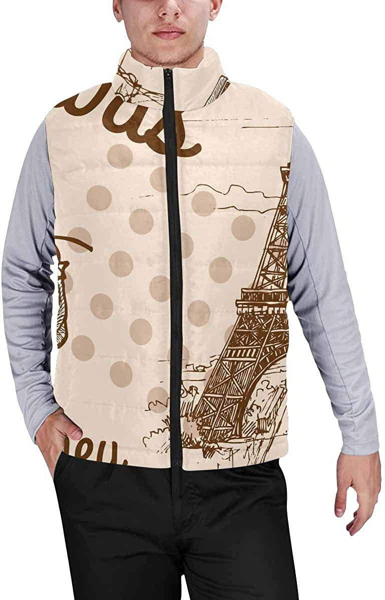 InterestPrint Men's Outdoor Casual Stand Collar Sleeveless Jacket Pattern with Lemons Leaves