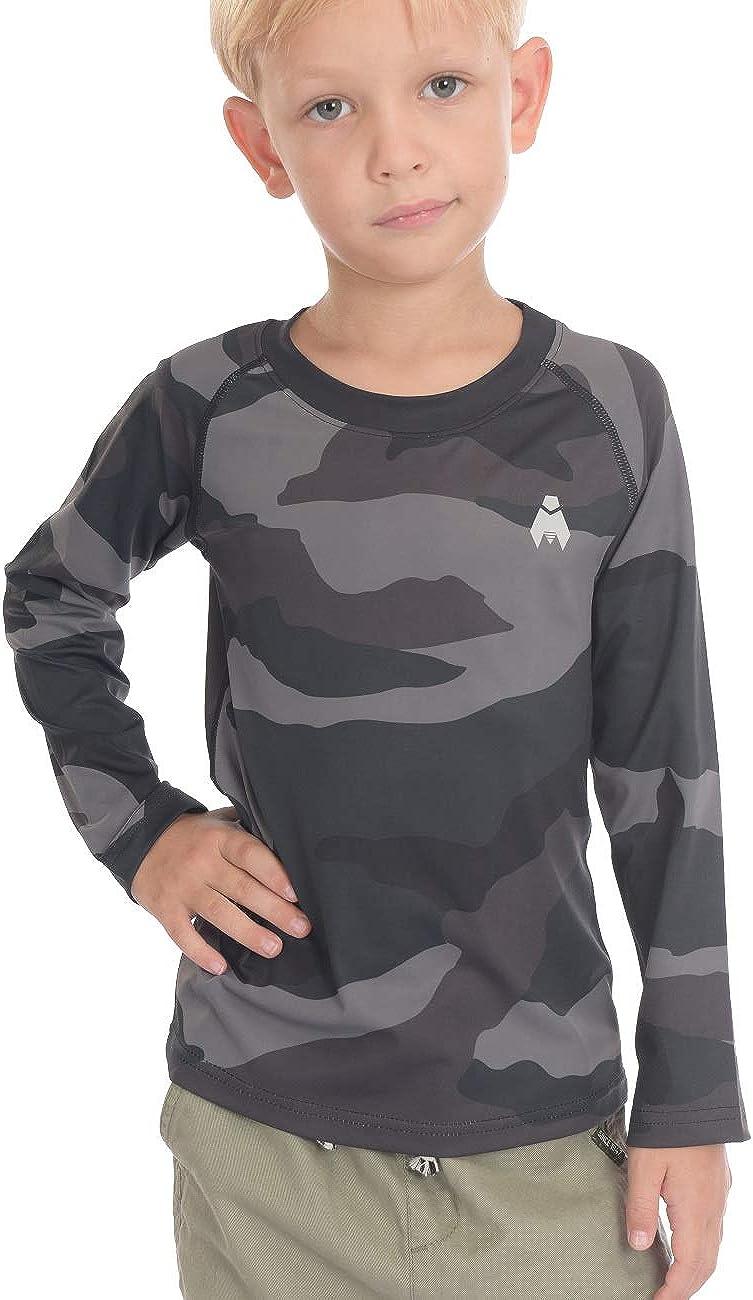 Midubi Boys Girls Long Sleeve Tops Youth Compression Shirts Athletic Undershirts for Football Baseball Sports Wear