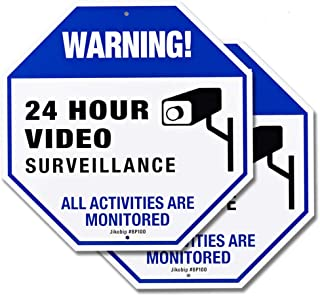 Video Surveillance Camera Signs for Property House Yard - 12x12 Rust Free 40Mil Thick Aluminum Indoor or Outdoor CCTV Security Sign - 2 Pack