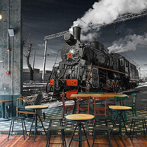 WGBHQ 3D Mural Removable Self-Adhesive Wallpaper-Wall Decoration - Retro Nostalgic Train Stereo Restaurant Family Living Room Bedroom Office Children Room Decoration Wallpaper Back(W)350x(H)256cm