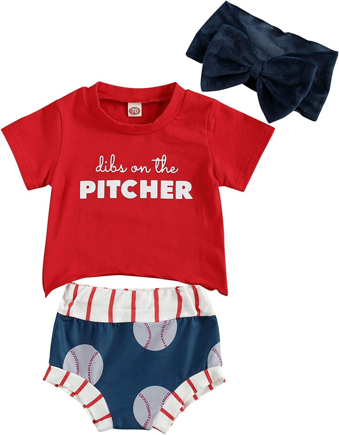 Infant Baby Girl Summer Outfits Short Sleeve Letter T-Shirt Top Bloomers with Headband 3Pcs Toddlers Clothes Set