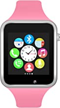 Bluetooth Smart Watch GSM Phone Watch with Camera for Android Smartphones (Silver + Pink)