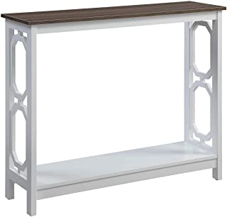 white and wood console table