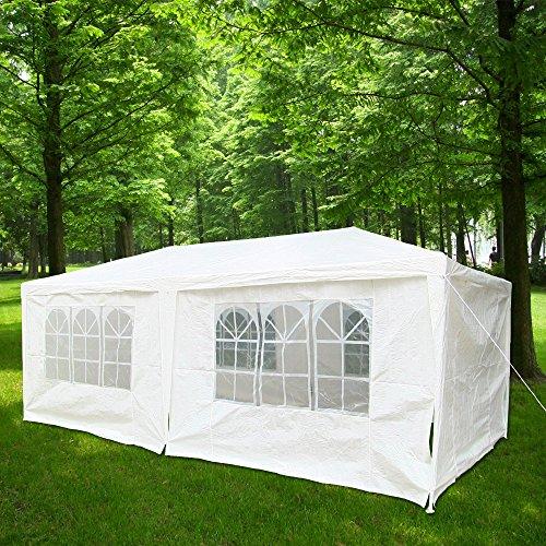 Hengda® Festzelt 3x6m Partyzelt Weiß Bierzelt Gartenpavillon Pavillon Gartenzel Abnehmbaren Seitenteile