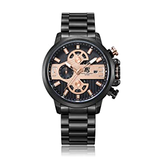 T5 H3610G-C Round Stainless Steel Analog Watch for Men - Black