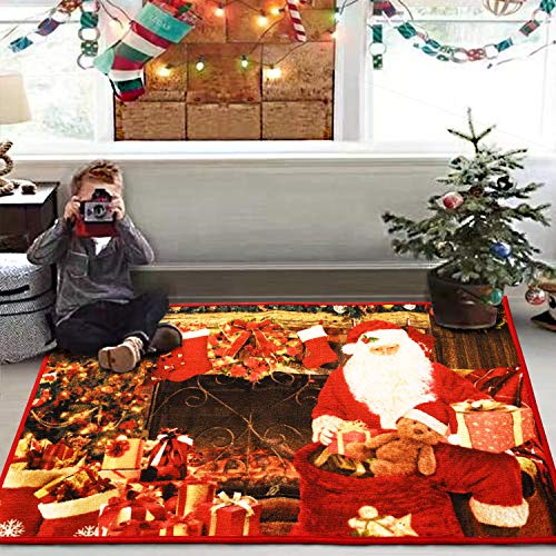 YOH Merry Christmas Santa Claus Door Mats Home Decorative Area Rug Premium Non-Skid Rubber Polyester Red Floor Mat Indoor Outdoor Hallway Kitchen Entrance Rugs, Holiday Print, Water Absorbent, 3x5 ft