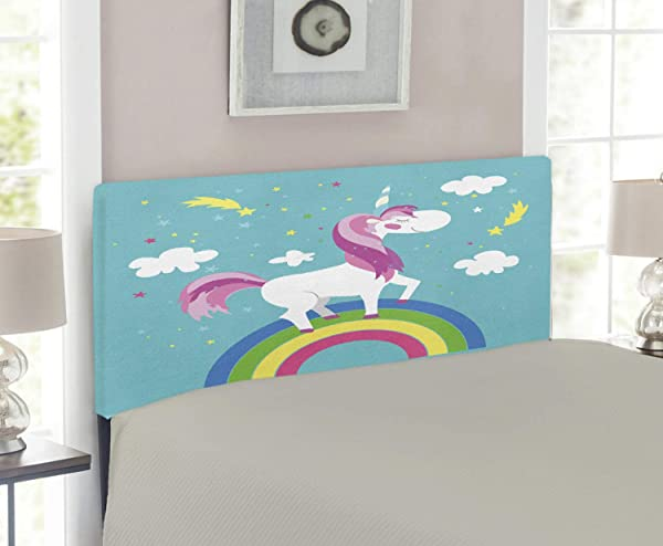 Lunarable Rainbow Headboard Unicorn Walking Over The Colorful Rainbow With Stars And Clouds Backdrop Fairy Pony Upholstered Decorative Metal Headboard With Memory Foam For Twin Size Bed Multicolor