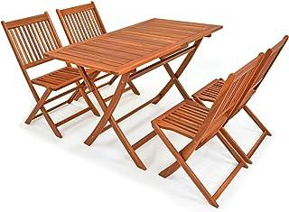 Deuba - Ensemble de Jardin 4+1 - Bois d'acacia - Sydney Light - 1 Table + 4 chaises Pliables - Salon de Jardin, Table et c...