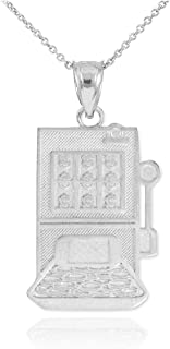 Good Luck Charms Solid 925 Sterling Silver Casino Slot Machine Pendant Necklace