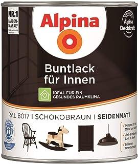 Alpina Buntlack für Innen Seidenmatt 0,75 Liter Farbwahl, Farbe RAL:RAL 8017 Schokoladen-braun