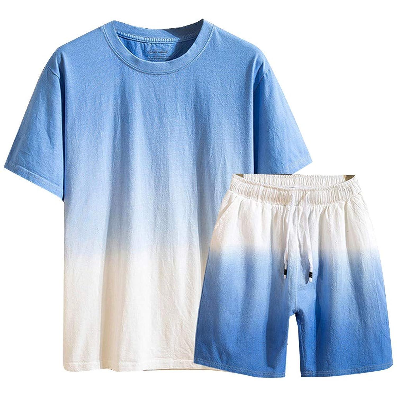 Aster JaKi メンズ カジュアル 綿麻 上下セット Tシャツ 短パン おしゃれ グラデーション 大きいサイズ 半袖 夏 吸汗速乾 トップス ショートパンツ