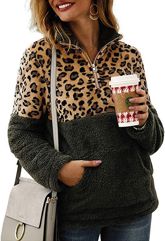 Women S Autumn Winter Sherpa Fleece Sweatshirt Long Sleeve Zipper Camouflage Patchwork Pullover Jacket Coat With Pockets