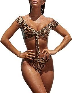 Bonboho Femme Maillot de Bain Vintage /À Volants Bikini 2 Pi/èces Ensembles /À Pois Impression Push-up Rembourr/é Taille Haute Col V Dos Nu