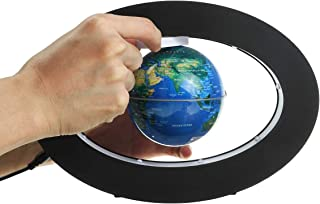 BouBou 3,5 tums LED-lampa magnetisk svävande bana flytande glob världskarta 110–220 V hem kontor skrivbordsdekor – blå