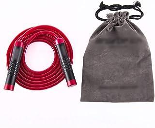LKJASDHL フィットネスウエイトベアリングアルミ合金金属プロフェッショナル縄跳び学生大人のトレーニング用品PVCゴムロープ調節可能なロープスキップ速度ロープスキップボクサーフィットネストレーニングに適して ( Color : レッド )