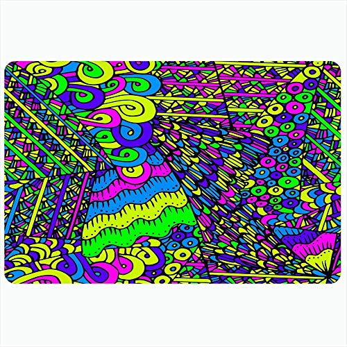 Badteppich für Badezimmer rutschfeste Matten Buntes abstraktes Muster Textil 60S Goa Kreative Verpackung LSD-Papier Symmetrie Texturen Wiederholung Plüsch Dekor Fußmatte rutschfeste Trägermatte