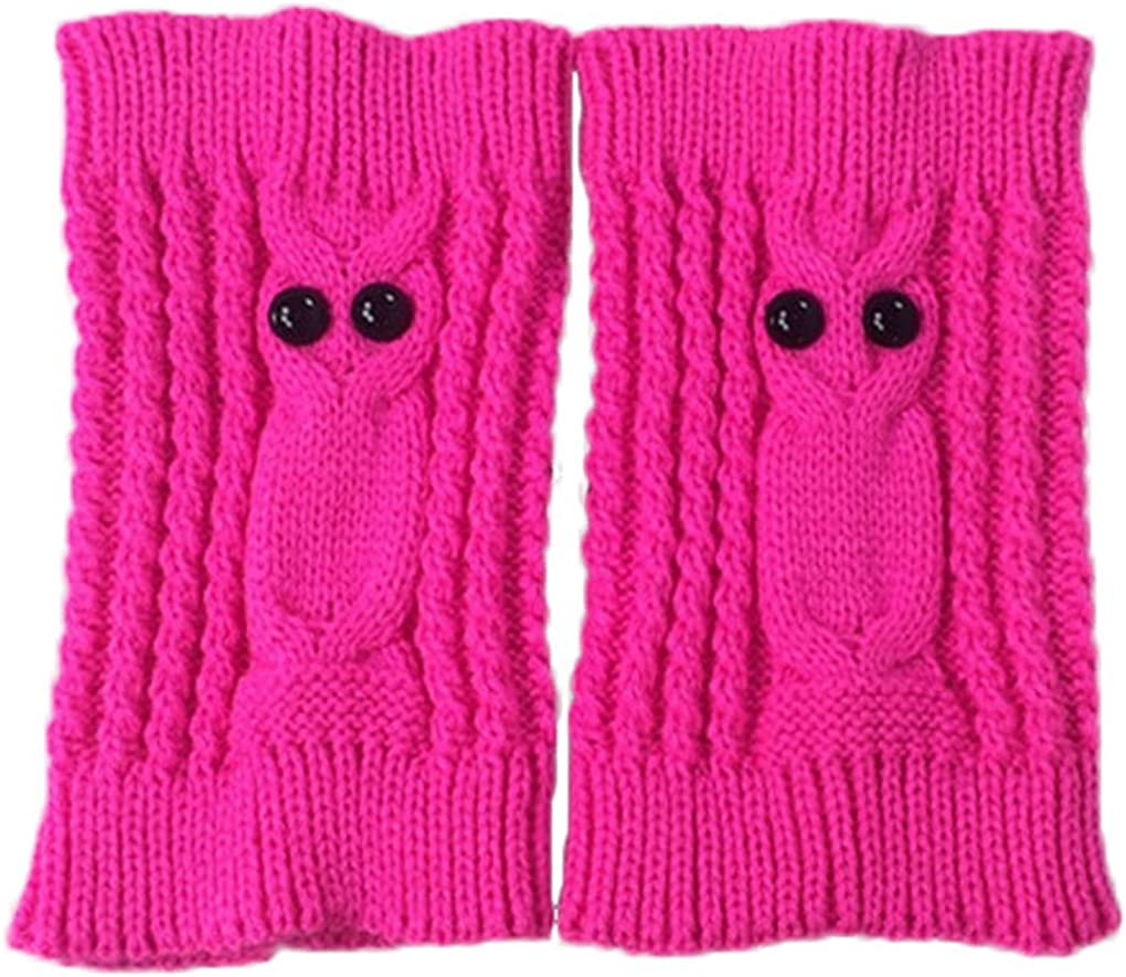 Womens girls short knit Leg Warmers autumn winter owl pattern boot Socks TTD013