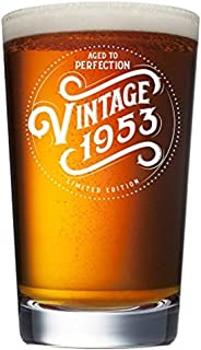 1953 66th Birthday Gifts for Women and Men Beer Glass - Funny Vintage Anniversary Gift Ideas for Him, Her, Dad, Mom, Husband or Wife. 16 oz Pint Craft Bar Glasses. Party Decorations IPA Mug Cup