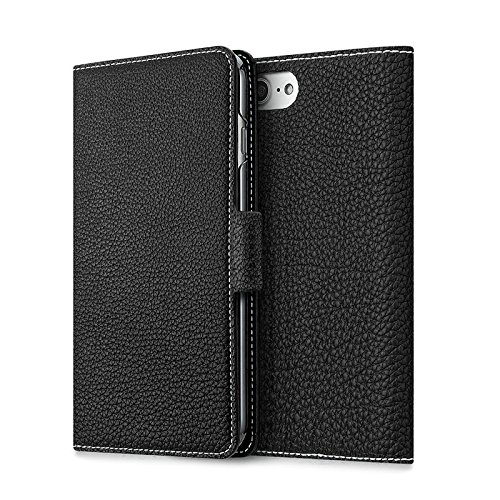 ZENDO Full-Grain Leather Flip Wallet Case with Magnet Lock Compatible with Apple iPhone 7/8 [Black]