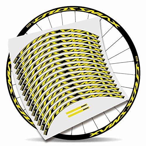 Kit Pegatinas Bicicleta Stickers LLANTA Mavic Crossmax Pro 29'' MTB BTT B (Amarillo Fuego)
