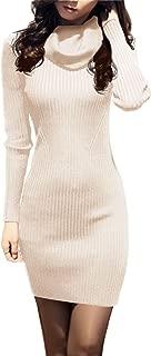 v28 Women Cowl Neck Knit Stretchable Elasticity Long Sleeve Slim Fit Sweater Dress
